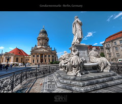 Gendarmenmarkt - Berlin, Germany (HDR) (farbspiel) Tags: berlin history sunshine photoshop logo photography nikon wideangle bluesky historic handheld dri hdr highdynamicrange watermark hdri superwideangle gendarmenmarkt niceweather 10mm postprocessing dynamicrangeincrease französischerdom ultrawideangle d90 friedrichschiller photomatix wasserzeichen tonemapped tonemapping frenchcathedral watermarking detailenhancer topazadjust topazdenoise klausherrmann topazsoftware sigma1020mmf35exdchsm topazphotoshopbundle topazinfocus