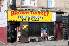 Brown Basket, 1544 W. 51th St. Chicago, Illinois (Cragin Spring) Tags: door city urban food chicago building beer sign yellow store illinois cool midwest cola gates entrance storefront booze southside liquors atm minimart rc secondcity chicagoillinois chicagoil 51ststreet brownbasket