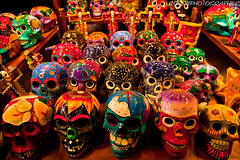 colorful skulls Playa del Carmen-yucatan-mexico (anthony pappone photography) Tags: pictures trip blue vacation color beach water colors digital canon lens mexico photography photo colorful colours colore foto image maya picture yucatan tulum mayan cancun caribbean fotografia mexicano mayas photograher mexicanfolkart phototravel meksiko