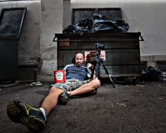 Dumpster Baby (cory660) Tags: california camera portrait dumpster la losangeles garbage alley nikon downtown ketchup flash tripod d70s sb600 neil can hdr strobe hardlight strobist hdrportrait neilarmstrong2