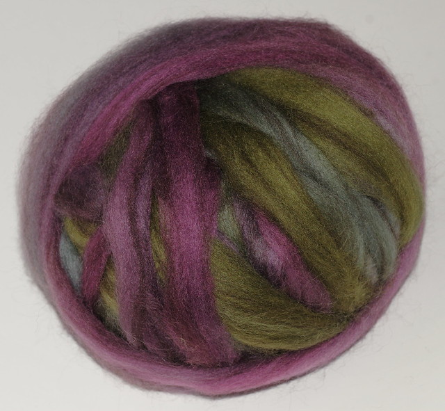 Enchanted - Handpainted Roving, Heathered BLF fra Greenwood Fiberworks.    IMG_4212