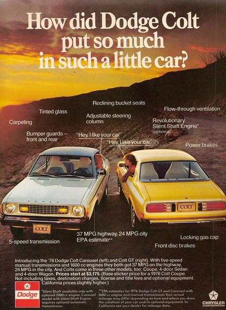car ad dodge colt 1976