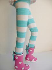 Blythe Aqua Blue stripes tights