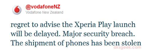 Vodafone Twitter-xperia play stolen