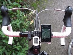 Weekend ride, waiting for a shower to stop (a.malahova) Tags: sonyericssonxperiaactive bike mount handlebar cateye giant pushbike maps navigation shimano105 shifters