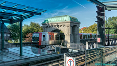 Hamburg, Germany: Kellinghusenstrae station for Line U-1 & Line U-3. U-3 passing the arch (nabobswims) Tags: de deutschland elevated germany hdr hamburg highdynamicrange hochbahn kellinghusenstrase lightroom lineu1 lineu3 metro nabob nabobswims photomatix sonya6000 stadion subway ubahn