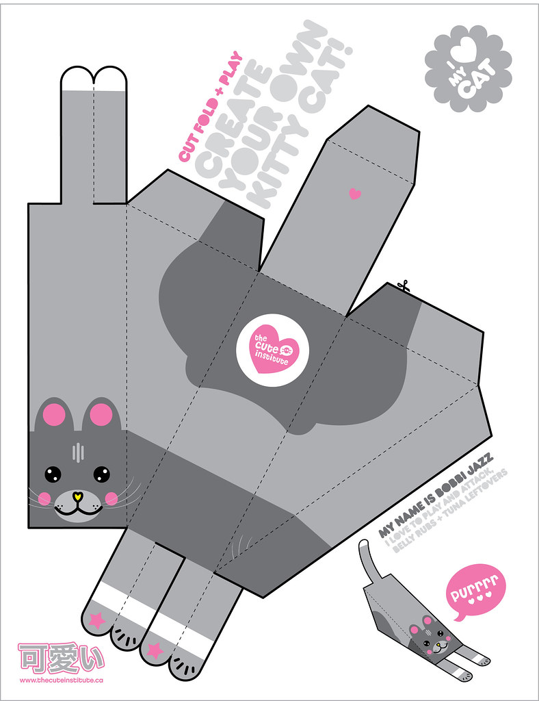 printable cat paper toy cool cat cube craft printable cat