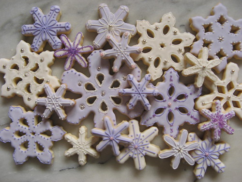 white and purple snowflakes