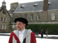 Aaron at St Salvator's quadrangle