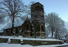 St Helen's Church, Hemsworth in the Snow (Chrissie28IWish! ~ hubby passed away 5th Dec peace) Tags: blue trees sky snow church stone wall dusk masonry sthelens hemsworth htwoo yahoo:yourpictures=winter