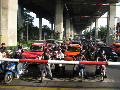 Bangkok Traffic at rail crossing