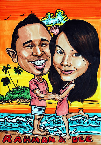 couple caricatures @ Sentosa beach