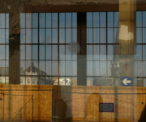 At Railwaystation During Demolition - Windows Through Windows Reflected in a Window