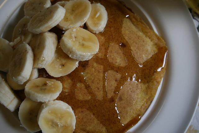 pumpkin pancakes + bananas