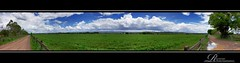 Triangle Lane 8 Shot Pano (rhyspope) Tags: road street new blue summer sky panorama cloud storm mountains tree green field grass rain wales rural canon fence shower countryside track afternoon stitch path pano south horizon country lowlands meadow australia panoramic richmond dirt trail cumulus nsw aussie pulse thunder gravel humid hawkesbury 500d rhyspope