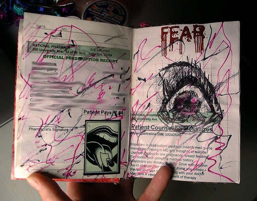 Art journal page - fear