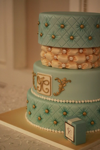 Teal and Ivory Wedding cake