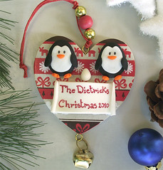 Custom Penguins expecting couple Christmas ornament (PassionArte) Tags: christmas family red white penguins heart handmade egg banner ornament clay personalized