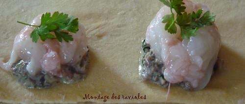 Montage ravioles de langoustines