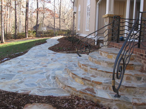 finished flagstone walkway on a home in southwest Raleigh, North Carolina