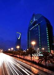 Riyadh (Rami ) Tags: road blue sunset building cars lens king wide tokina saudi arabia  riyadh fahad  ksa