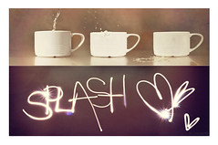 Splash! (Lunayda) Tags: light cup water strange photoshop hearts graffiti drops nikon drawing splash dyptich d5000