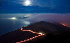 The Night Moves (Matt Granz Photography) Tags: ocean california road moon fog night reflections stars pacific cove marin hills bonita headlands lighttrails midnightsun hawkhill top20longexposure