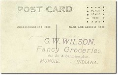 G. W. Wilson Fancy Groceries, Muncie, Indiana message (Hoosier Recollections) Tags: people usa man men history coffee sepia advertising clothing workmen indiana shops grocery mills armour muncie businesses armandhammer nabisco delawarecounty realphoto hoosierrecollections elginnational