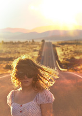 (yyellowbird) Tags: road sunset summer mountains girl oregon desert roadtrip cari goldenhour