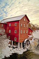 Rustic Winter Mill (Doug Wallick) Tags: trees windows winter red snow cold mill ice water wheel wisconsin frozen wooden frost cloudy historic augusta picnik dells lightroom a230 tripleniceshot mygearandmepremium mygearandmebronze mygearandmesilver mygearandmegold mygearandmeplatinum mygearandmediamond
