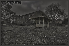 Breathing space (Lens_Flaire) Tags: building abandoned architecture canon dark bench eos mood shed atmosphere creepy spooky hut forgotten trespass shack asylum derelict hdr 550d hospitalgrounds
