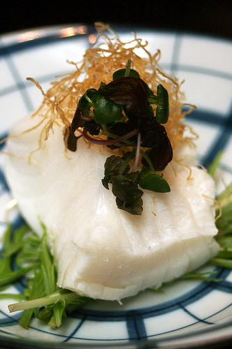 Hokkaido Milk Poached White Cod with Crispy Ginger - sans meat sauce