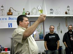 Master Distiller and Proprietor Marc Bernhard with a glass of Pacifique Absinthe Verte Supérieure