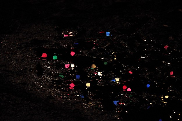 lights in muddy puddle