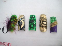 Nail art 1 (Bretagne_Revenge) Tags: black green art gold purple lace nail feathers