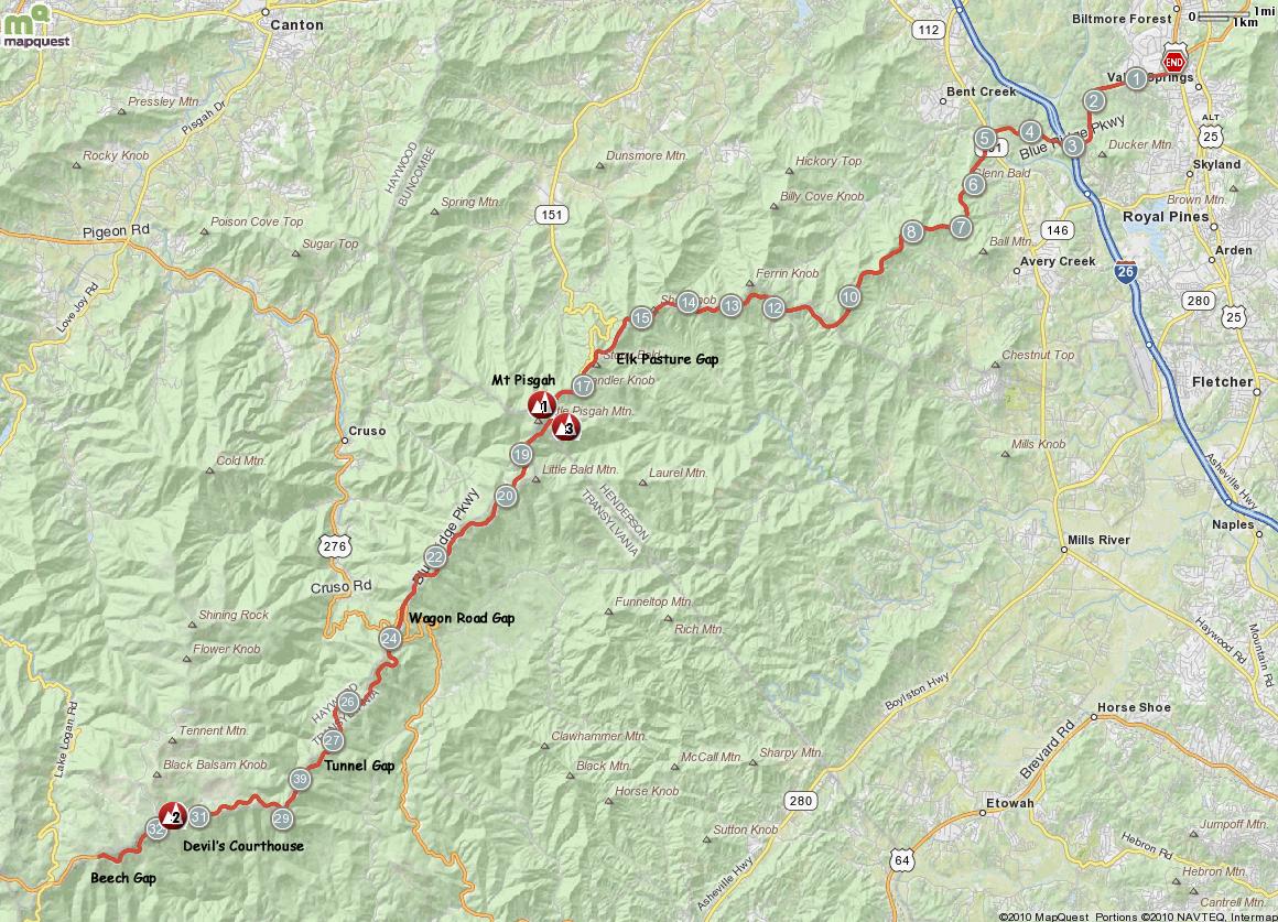 Blue Ridge Parkway My Pisgah Map