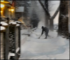 Man Clearing his Sidewalk During Blizzard (GayleAlstrom) Tags: gothamist newyorkblizzard portrichmondstatenisland