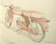 Quickly TTK (Flaf) Tags: colour water pencil drawing 1960s florian moped 1961 ttk quickly nsu 1960er afflerbach