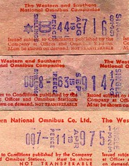 Western and Southern National Omnibus co ltd Setright bus ticket, c.1970. Machine nos 176 1323 839