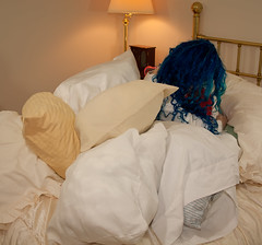 Day 34 of 365 - Year 2 (wisely-chosen) Tags: selfportrait me bed january pillows bluehair 2011 365days naturallycurlyhair canonspeedlite430exii manicpanicshockingblue curlformers adobephotoshopcs5extended manicpanicaftermidnightblueamplified