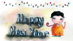 Happy New Year - Mixed media (Kylie Fowler AKA: Blissful Pumpkin) Tags: portraits paper artwork whimsy mixedmedia watercolour whimsical howtodraw onmyblog kyliefowler kyliepepyatfowler blissfulpumpkin httpblissfulpumpkinblogspotcom kyliefowlercom howtopaintbigeyedgirlskyliepepyatkyliepepyatfowler