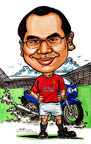 Manchester United soccer player caricature with bike at Old Trafford