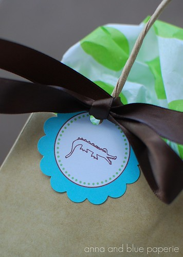 anna and blue paperie gator party decor tag logo