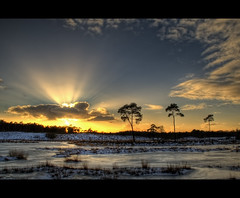 Hatertse Vennen at sunset (Focusje (tammostrijker.photodeck.com)) Tags: sunset sun snow holland ice netherlands dutch silhouette clouds nijmegen landscape pond rays fen hatertsevennen overasselt