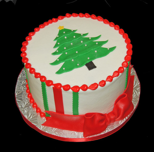 red and green Christmas tree cake