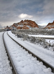 Fresh Snow at Mormon Rocks (Dave Toussaint (www.photographersnature.com)) Tags: california county ca travel sky usa cloud snow ice nature up rock train photoshop canon landscape photo interestingness interesting day skies photographer cs2 steel tracks picture nationalforest explore adobe unionpacific geology southerncalifornia hdr i15 sanbernardino infocus interstate15 hwy138 mormonrocks 2011 photomatix highway138 40d topazlabs topazadjust topazdenoise photographersnaturecom davetoussaint