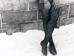 Jennifer (Beatrice Zemann) Tags: winter blackandwhite bw snow film 35mm jennifer eastriver plaidshirt minoltamaxxum7000i lacetights fujifilmneopan400