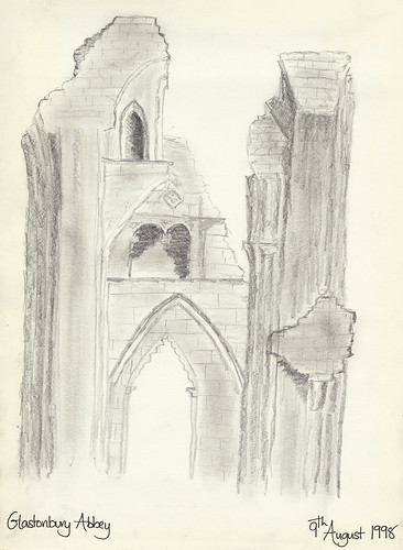 Glastonbury Abbey Sketch - Copyright R.Weal 1998