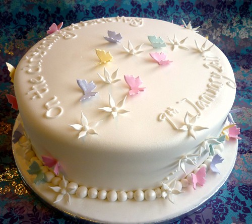 White and pastels butterfly christening cake