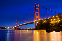 San Francisco Golden Gate Bridge twilight blue moment